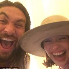 Her sun and stars! Emilia Clarke reunites with former Game of Thrones love interest Jason Momoa during Paris Fashion Week