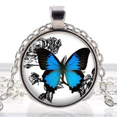Butterfly Sketch Glass Photo Pendant Silver Necklace Jewelry by ChicBridalBoutique on Opensky