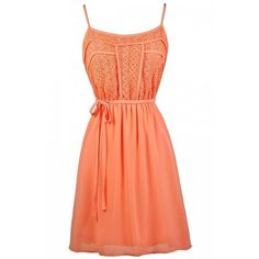 Lace Designs Flowy Sundress in Orange Coral ❤ liked on Polyvore featuring dresses, red orange dress, day summer dresses, summer sundresses, orange sun dress and summer dresses