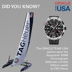Fun Fact Friday - Did you know the ORACLE TEAM USA sailors sport the Aquaracer 500M Chronograph Defender Limited Edition watch by TAG Heuer?