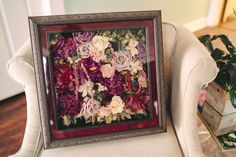 Beautiful bouquet preserved and designed in a beautiful shadowbox. #flowerpreservation #preservedflowers #preserved #driedflowers #driedbouquet Freeze Dried Flowers, Memorial Flowers, How To Preserve Flowers, Flower Bouquet Wedding, Flower Petals, Love Flowers, Preserves, Floral Design, Bloom