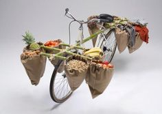 cargo bike with bamboo additions
