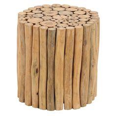 """Uma 16"""" Teak Wood Stool"""