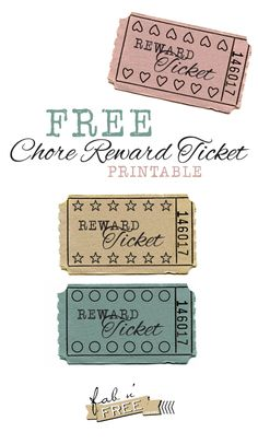 Free Chore Reward Ticket. Punch it for every time your child completes a chore, when the ticket is completed, it is redeemable for a reward! fabnfree.com