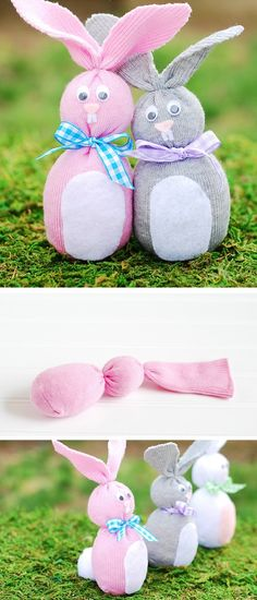 DIY Sock Bunny Tutorial | DIY Sock Bunny Tutorial - How to make sock bunnies out of baby socks. Easy Easter craft idea for kids!