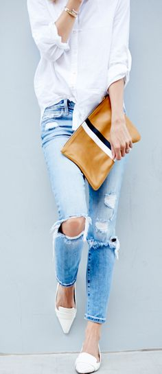 Ripped jeans - perfect casual chic with white button down - style/fashion inspiration