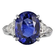 8.25 Carat Ceylon Sapphire Diamond Platinum Three Stone Ring | From a unique collection of vintage three-stone rings at https://www.1stdibs.com/jewelry/rings/three-stone-rings/