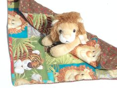 Lion Stuff Animal Critter Blanket by MendingLifeTogether on Etsy, $25.00