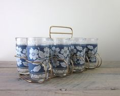 Vintage Blue and White Dogwood Glasses Barware Set in Caddy by Hazel Atlas by 22BayRoad on Etsy https://www.etsy.com/listing/222798580/vintage-blue-and-white-dogwood-glasses