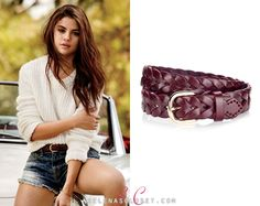 Selena Gomez is giving us an American Girl vibe with this look from her Teen Vogue issue. Bordeaux Braided Leather Belt is on sal. Selena Gomez Closet, Braided Leather Belt, Teen Vogue, Celebrity Outfits, American Girl, Braids, Hollywood Style, Celebrities, Bordeaux