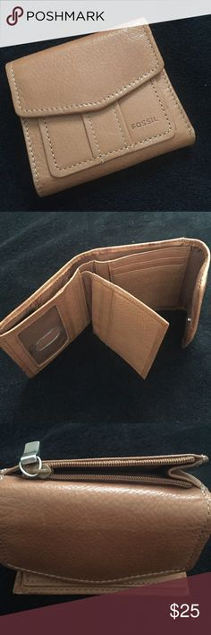 Fossil Chestnut Tan Wallet EUC Bifold with Flap Fossil leather wallet tan with zipper coin pocket , bill slot,  ID slot,  9 card slots and two underneath storage slots .  Excellent condition carried couple times and went back to my tiny mini wallet . Fossil Bags Wallets
