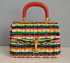 5b9222691555 Vintage Lewis Plastic Wicker Rainbow Basket Purse formerly in my collection