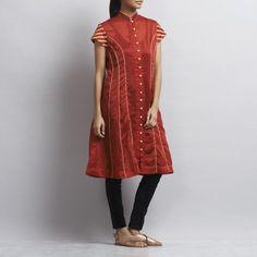 Red Chanderi Kurta with appliqued stripes in Zari Indian Kurta, Kurta Designs Women, Short Sleeve Dresses, Dresses With Sleeves, Designer Wear, Stripes, Glamour, Suits, Patterns