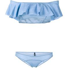 Lisa Marie Fernandez Mira Bandeau Bikini (€345) ❤ liked on Polyvore featuring swimwear, bikinis, blue, flounce bikini, bandeau tops, american bikini, bandeau swimwear and flounce bandeau bikini