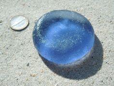 Large-Thick-Frosty-Vivid-INDIGO-Purple-Bottle-Bottom-Elite-Rare-Sea-Glass