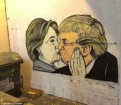 Artwork: Hillary Clint0n & D0nald Trump Kiss Hillary Clinton In A Swimsuit - Nud3 Demand By Local To Be Removed