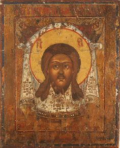 ANTIQUE RUSSIAN ICON OF THE HOLY FACE SPAS NERUKOTVORENI19 century