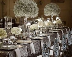 Silver Christmas Chair Sashes/ Christmas Chair Cover Sets of Silver Wedding Decorations, Graduation Decorations, Flower Decorations, Wedding Centerpieces, Christmas Decorations, Christmas Centerpieces, Quince Decorations, Centerpiece Flowers, Centerpiece Ideas