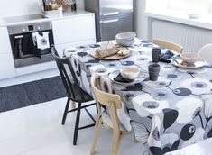 "A modern style does not have to be cold and clinical! Minna Niskakangas designed a trendy pattern with her mellow and engaging touch. The name ""Pastelli"" refers to the drawing technique and the sweet shapes and colours boosted with black details. Home, Table Settings, Table Cloth, Colours, Fabric, Marimekko, Modern, Table, Kitchen"