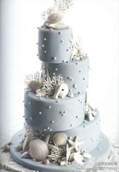 Beach theme wedding cake.