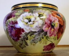 "Limoges Jardiniere/cache-pot with colorful flowers, artist signed ""L.GOLSE"", W. G.  1900-1932"