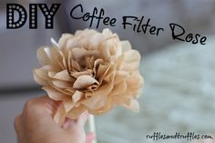 Step-by-step DIY coffee filter rose tutorial with pictures