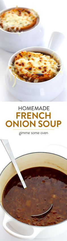 Learn how to make classic French Onion Soup at home!  It's easy to make than you might think, and always SO delicious! | gimmesomeoven.com Easy French Onion Soup, Easy Onion Soup Recipe, Chili Soup Recipe, Crockpot French Onion Soup, French Soup, Hearty Soup Recipes, Onion Recipes, Classic French Onion Soup, Chili Recipes