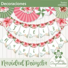 Navidad Poinsetia kit de decoraciones imprimibles   Tarjetas Imprimibles Tree Skirts, Christmas Tree, Tapestry, Holiday Decor, Home Decor, Rustic Style, Cold Porcelain, Fabric Gifts, Bag Packaging