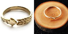 Arrow-inspired wedding rings. #HungerGames