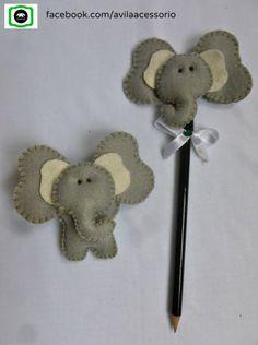 Ponteira de lápis e ímã. Foam Crafts, Diy And Crafts, Arts And Crafts, Art N Craft, Toy Craft, Diy Pencil Case, Pencil Toppers, Elephant Art, Felt Art