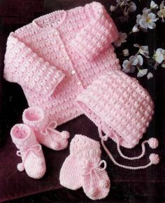 Baby Matinee Jacket, Bonnet Mittens and Bootees instructions for Dk yarns 18 - 22 ins - PDF of Vintage Crochet Patterns Baby Knitting Patterns, Knitting Terms, Double Knitting, Baby Patterns, Crochet Baby Jacket, Crochet Baby Clothes, Pull Bebe, Vintage Crochet Patterns, Baby Set
