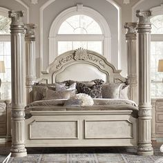Monte Carlo II Silver Pearl Poster Canopy Bedroom Set-Poster Bed ❤ this is the bed I have wanted for years! One day I'm gonna be sleeping in it! Canopy Bedroom Sets, Luxury Bedroom Sets, Queen Canopy Bed, Bedroom Furniture Sets, Luxurious Bedrooms, Home Bedroom, Luxury Bedding, Furniture Design, Canopy Beds