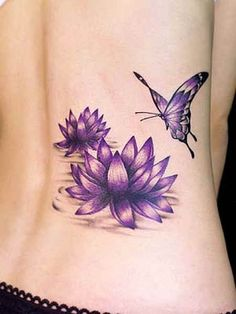 Flower Tattoo # 88 - Sexiest lotus flower tattoo idea ever. Sexy purple lotus flowers floating on water and a sexy purple butterfly flying around it. We think you can't find sexier tattoo theme like this for inking your skin:)