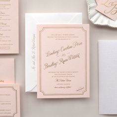 Metallic Gold Foil Letterpress Wedding Invitation on Pink Paper -- Sample -- Lindsey (FREE SHIPPING). $7.50, via Etsy.
