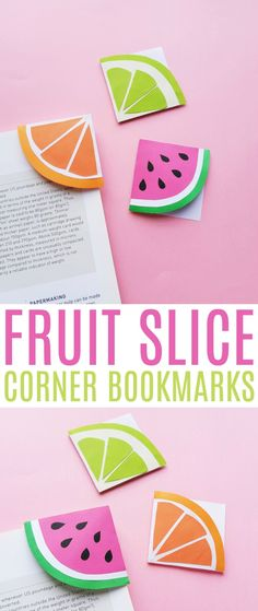 easy crafts This easy summer paper craft for fruit slice corner bookmarks is so much fun! These sweet DIY bookmarks are perfect for summer reading. Fruit Slice Corner Bookmarks List of Sup Easy Paper Crafts, Paper Crafts For Kids, Glue Crafts, Easy Diy Crafts, Diy Crafts To Sell, Diy Paper, Paper Crafting, Craft Papers, Fruit Crafts