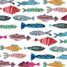 Katie Vernon& news, updates, and musings on art, illustration, and life. Fish Patterns, Textures Patterns, Print Patterns, Abstract Illustration, Motifs Animal, Fish Design, Colorful Fish, Fish Art, Animal Drawings