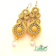Soutache Earrings OOAK Swarovski Crystal by DILETTANTEsoutache