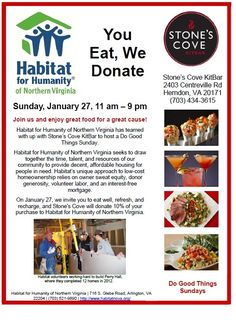 Habitatfor Humanity of Northern Virginia ishere for a Do Good Things Sunday! Join us today and we will donate 10% of your purchase to Habitat!