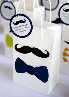 Favor bags at a little man mustache birthday party! See more party ideas at CatchMyParty.com!