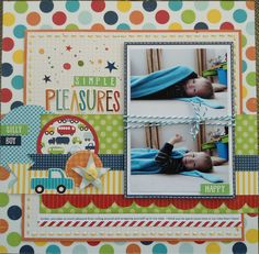 Continue on next page for a 2 page layout~could fit 6 pictures. *Use Little Boy paper that matches Evan's room creations.