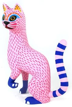 """Alebrijes"", Oaxaca wood carvings, artist Luis Pablo from MX Animal Sculptures, Sculpture Art, Mexican Folk Art, Mexican Artists, Illustration, Paperclay, Cat Gifts, Art Plastique, Cat Art"