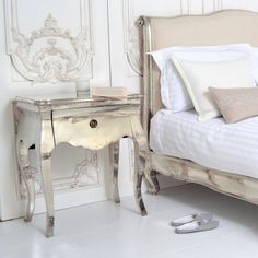 Riviera Bedside Table - Bedside Tables - Bedroom..wrapped in metal with a silver finish..bed too!