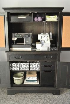 Organizing a Sewing Armoire - rethink that piece of furniture that you thought no longer had a purpose! See how I did it. #organized #crafts #sewing #craftorganization #organizinghacks #keepitsimplesister #lessismore #upcycle Craft Desk, Craft Room Storage, Craft Organization, Sewing Spaces, Sewing Rooms, Repurposed Furniture, Diy Furniture, Basement Craft Rooms, Sewing Station