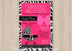 Hot Pink Zebra Baby Shower Invitation - DIY Custom Printable. $10.00, via Etsy.