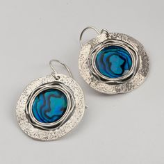 Shablool Didae 100% SOLID Cabochon 925 Sterling Silver Earrings With Abalone Stone