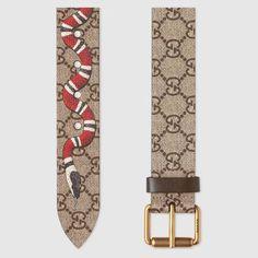 ab4f559ff52 Gucci GG Supreme belt with Kingsnake print