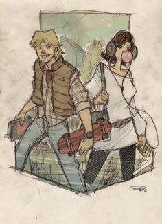 Star Wars Characters as '80s High Schoolers: Luke Skywalker and Princess Leia