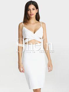 robe cut out à bretelle -blanc  13.24