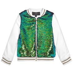 Girl's zip-up, baseball jacket-style top by Miguel Vieira. The gorgeous, iridescent sequins covering the front of this top appear green, blue or golden, depending on how the light catches them. Made in mid-weight cotton jersey, it is also fully lined in silky acetate fabric that has the designer's logo woven into it. The ribbed neckline, hem and cuffs are striped with gold and the gold-coloured metal zip has the designer's logo in white enamel.