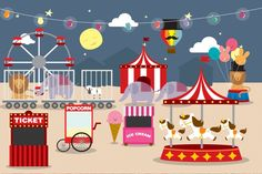 Cute Illustrated Fairground Wall Mural